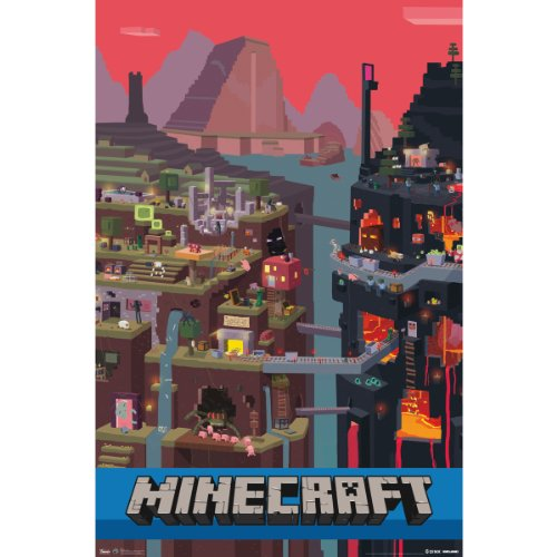 minecraft cube 22x34 wall posters