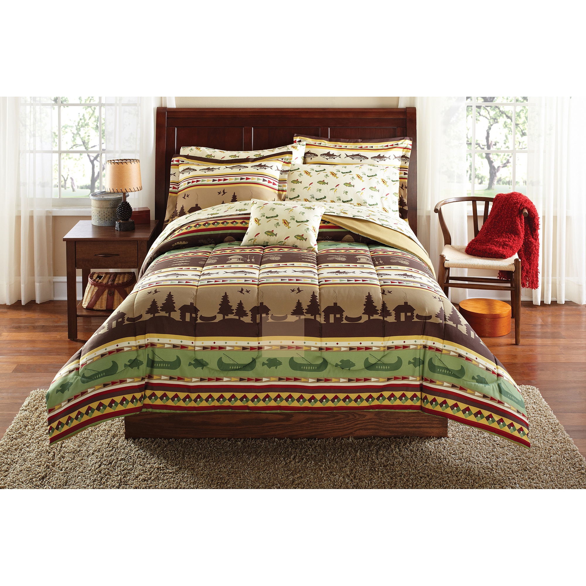 Mainstays Gone Fishing Bed in a Bag Coordinated Bedding