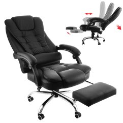 Pu Leather Office Chair Burgundy Executive Bestequip With Footrest High Back Reclining Adjustable