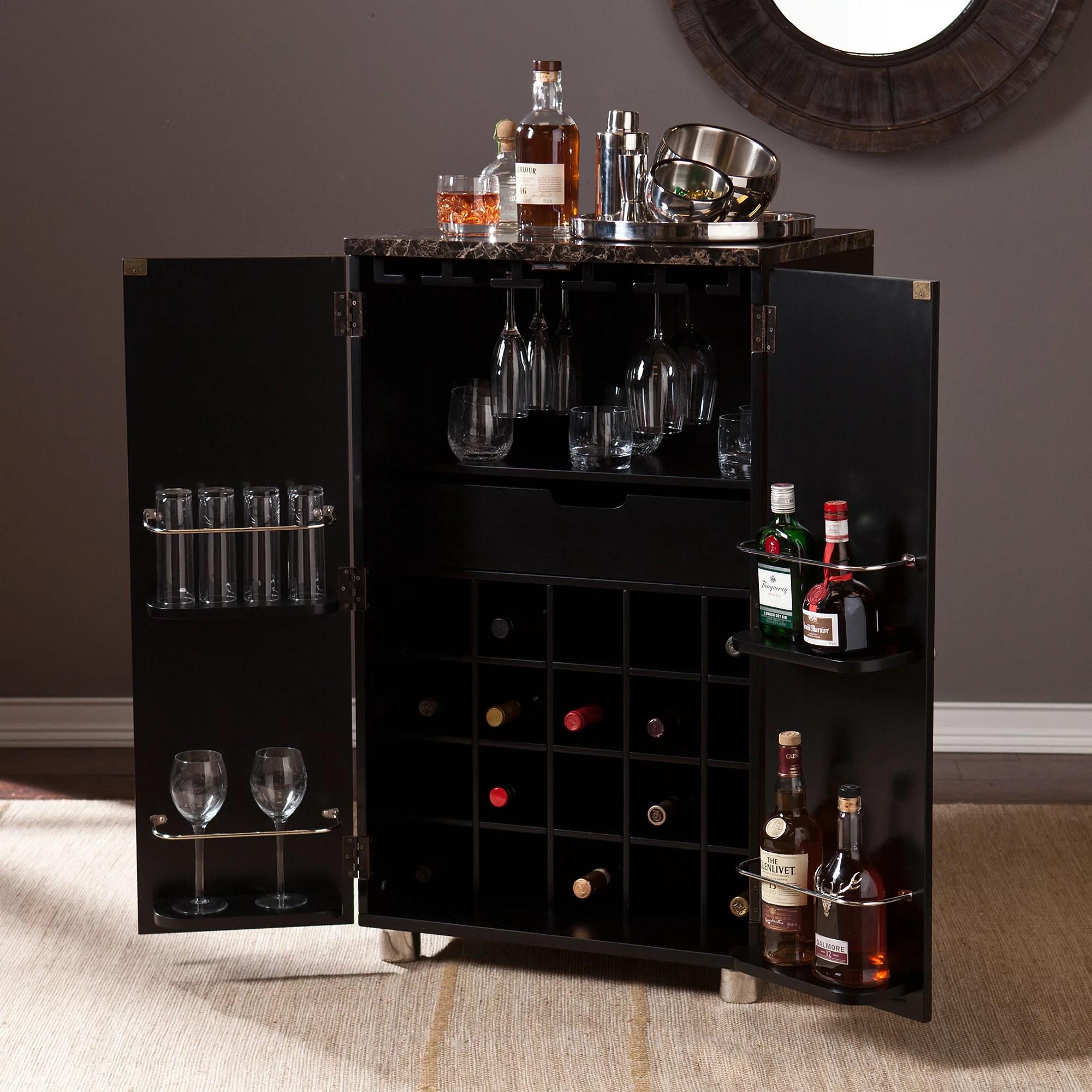 Sheena Contemporary Bar Cabinet Black  Walmartcom
