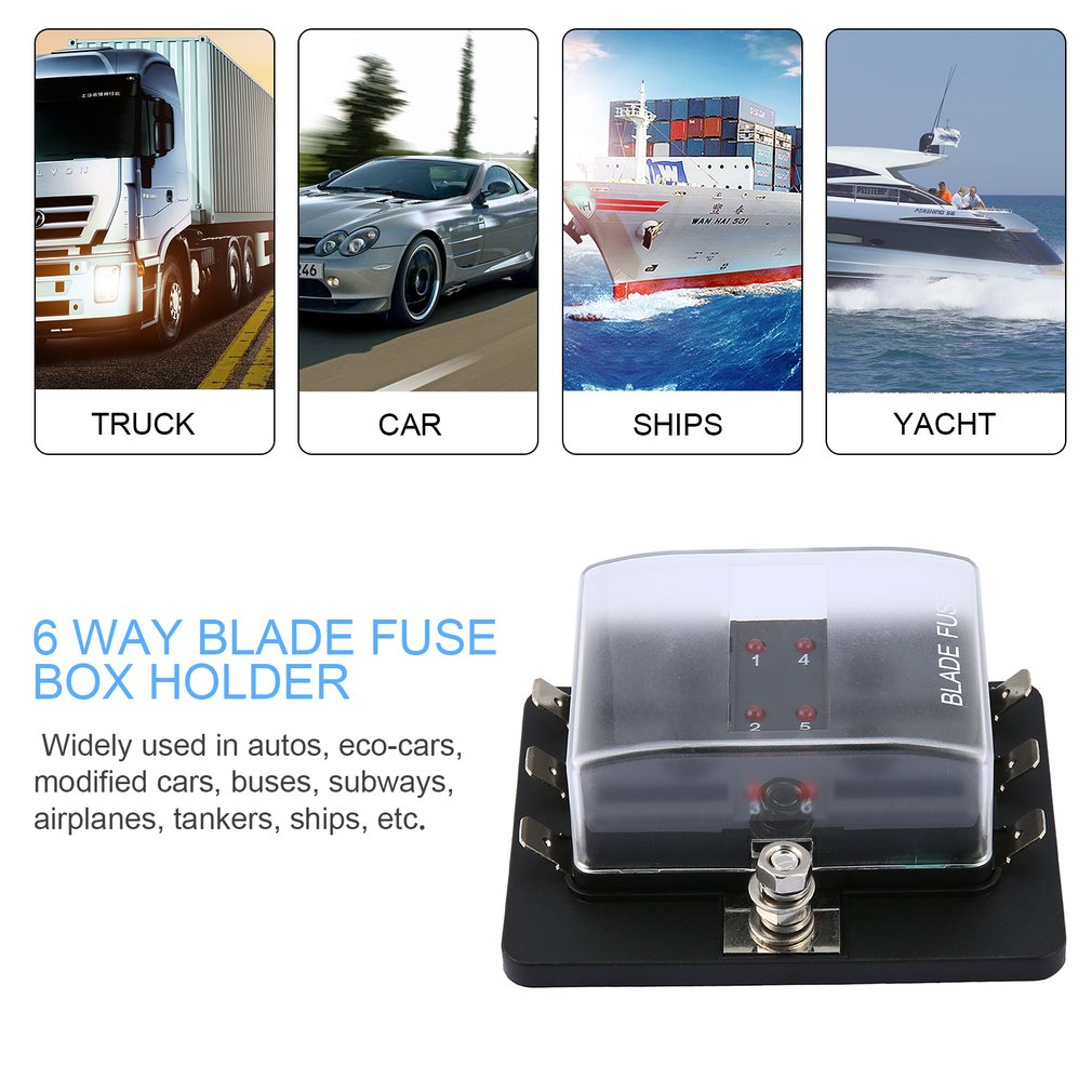 6 way led illuminated automotive blade fuse holder box fuse block 32v 25a [ 1010 x 1010 Pixel ]