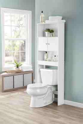 Mainstays Bathroom Storage Over The Toilet Space Saver With Three Fixed Shelves White Walmart Com Walmart Com