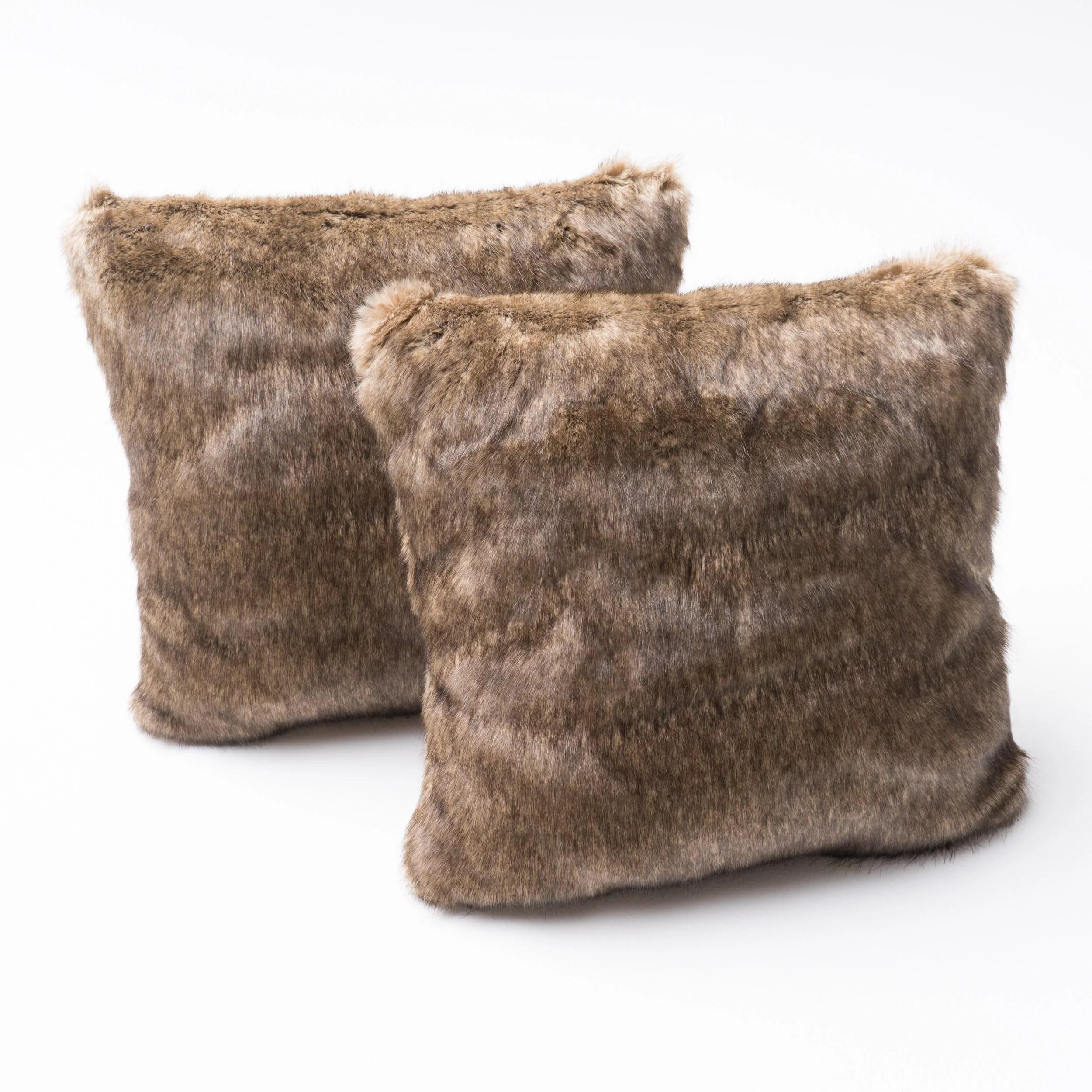 elise faux fur throw pillow set of 2 dark brown walmart com