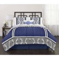 India Loft Blue 4-Piece Bedding Comforter Set - Walmart.com