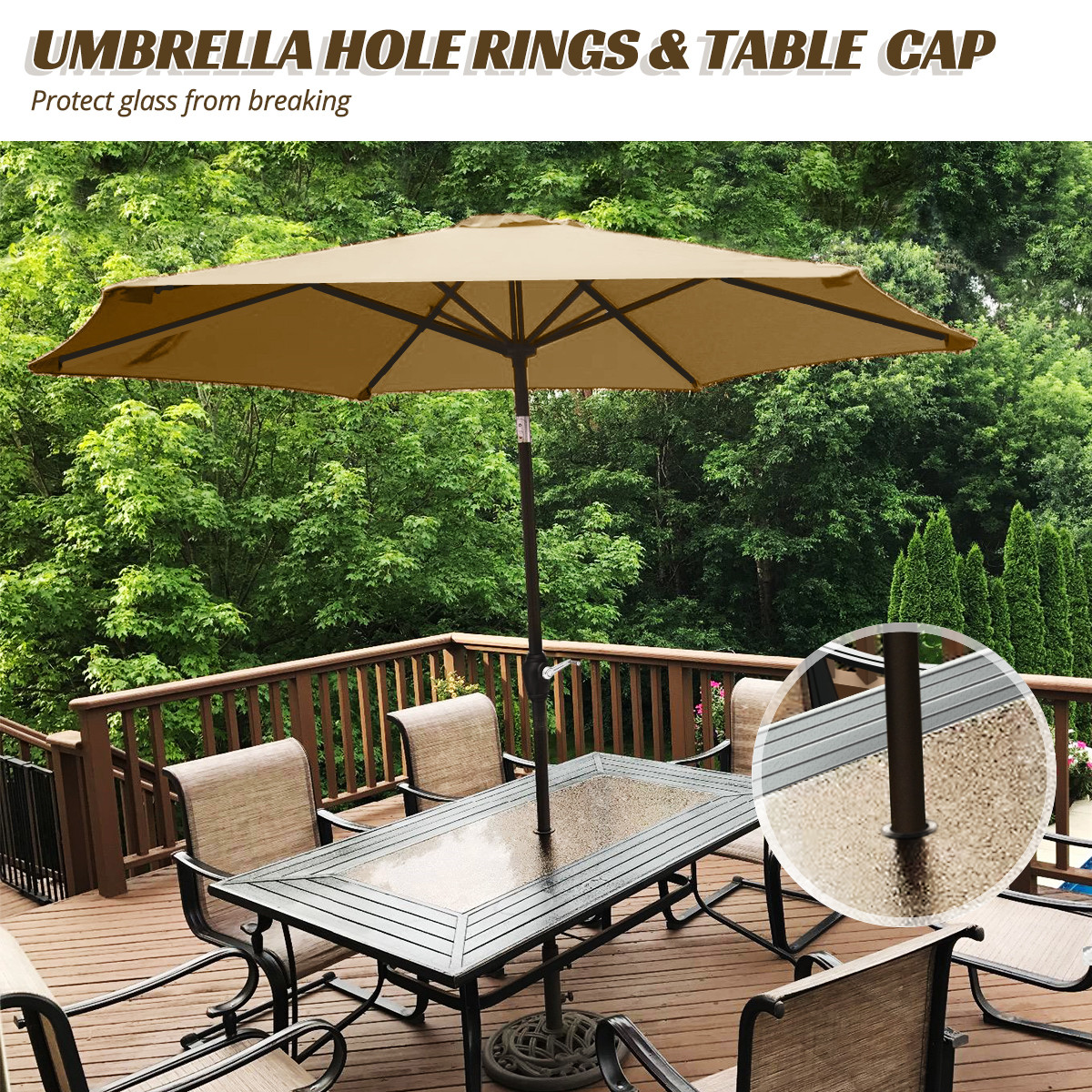 quictent 9ft patio umbrella tan 240g polyster 2 years non fading with umbrella cover