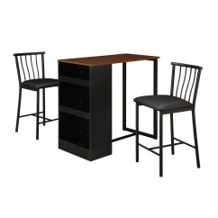 3 Piece Table And Chair Set Wayfair Lounge Cushions Dorel Living Isla Counter Height Dining With Storage Espresso Walmart Com