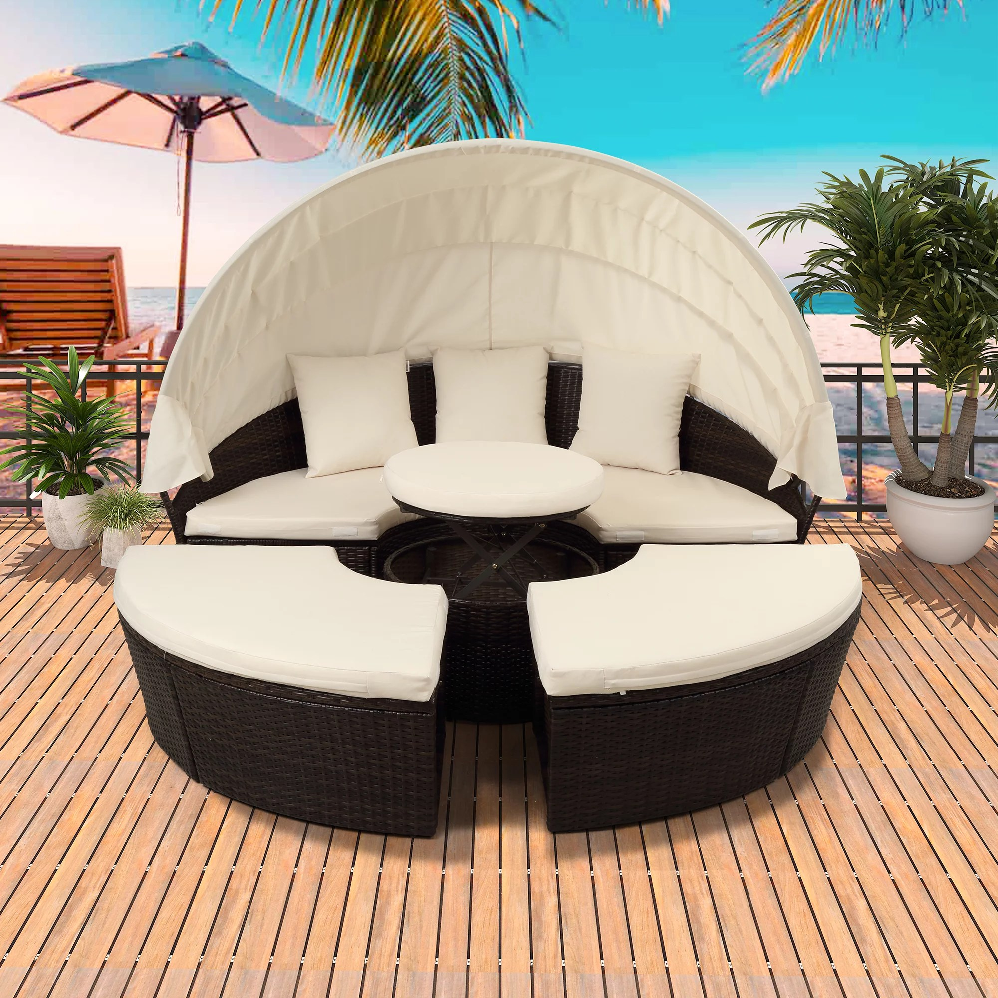https www walmart com ip patio daybed 5 piece furniture sets round wicker daybed retractable canopy all weather outdoor sectional sofa set cushions backyard porch garden pool 729277585