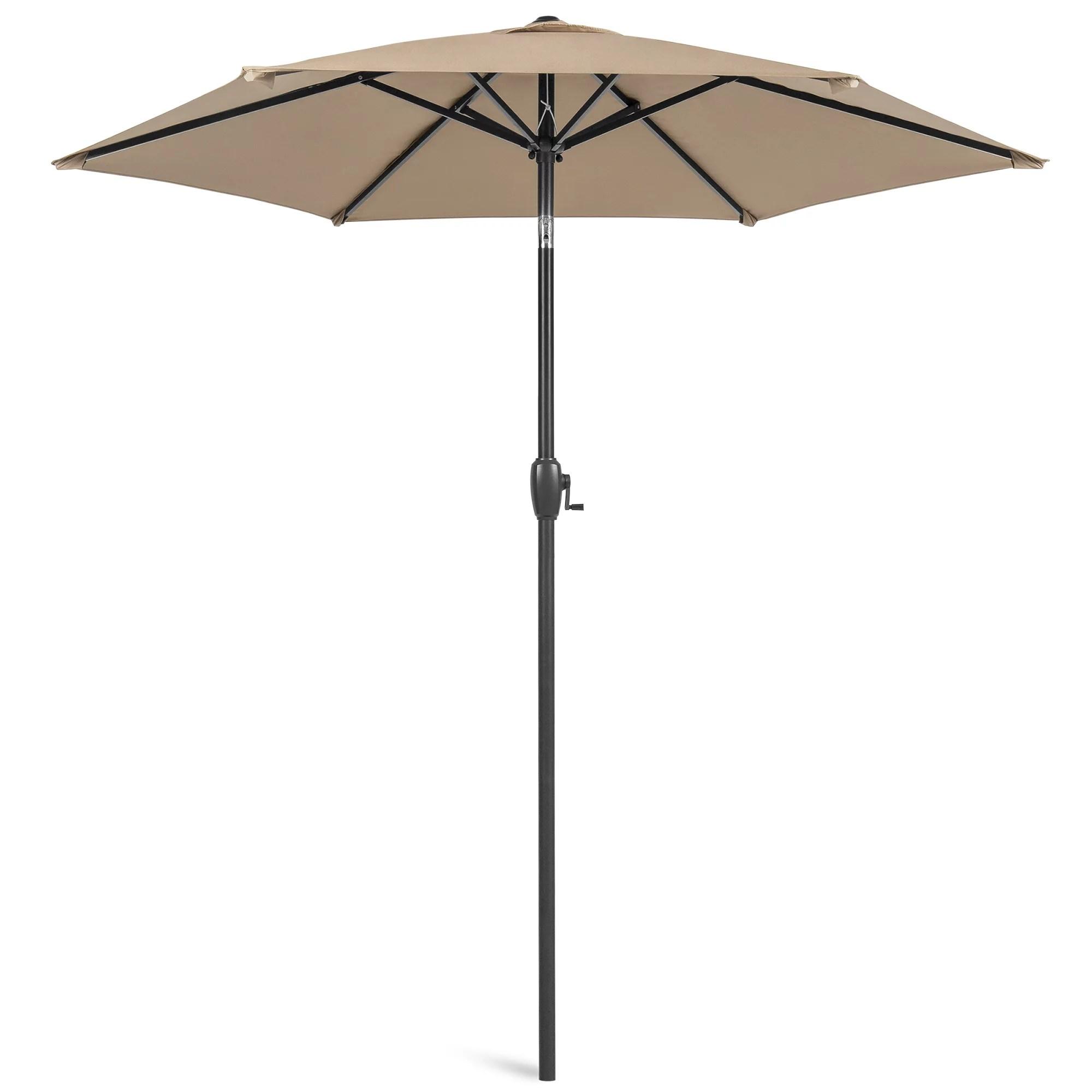 best choice products 7 5ft heavy duty outdoor market patio umbrella w push button tilt easy crank lift tan