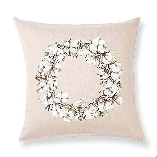 farmhouse throw pillow cotton wreath home decor spring pillow cover oatmeal 20x20 cotton linen couch throw home decorations