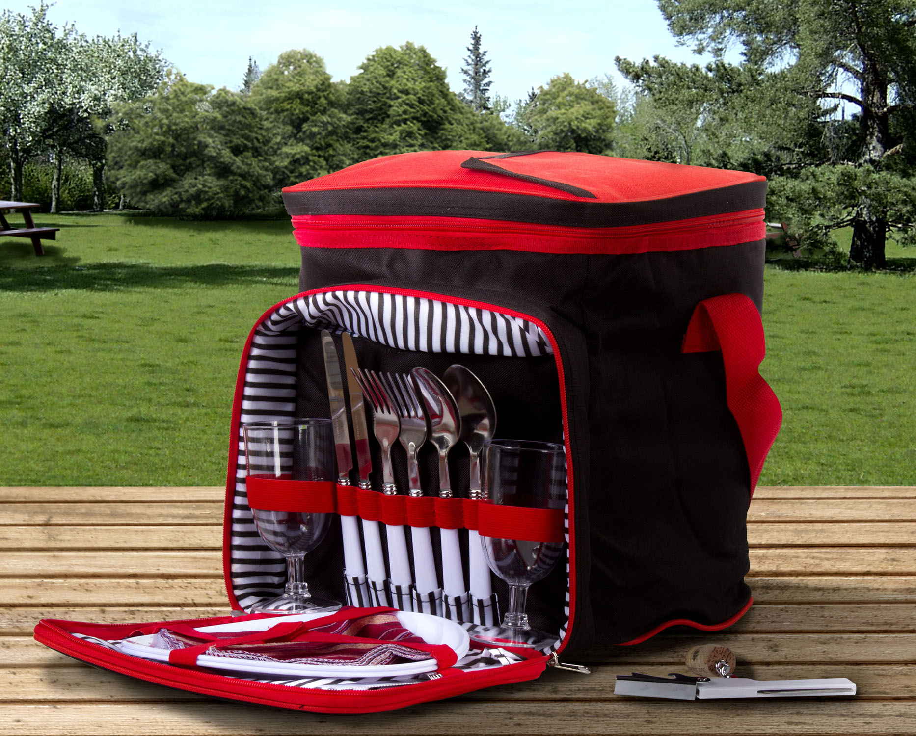 Insulated Picnic Basket Set  Lunch Tote Backpack Cooler w