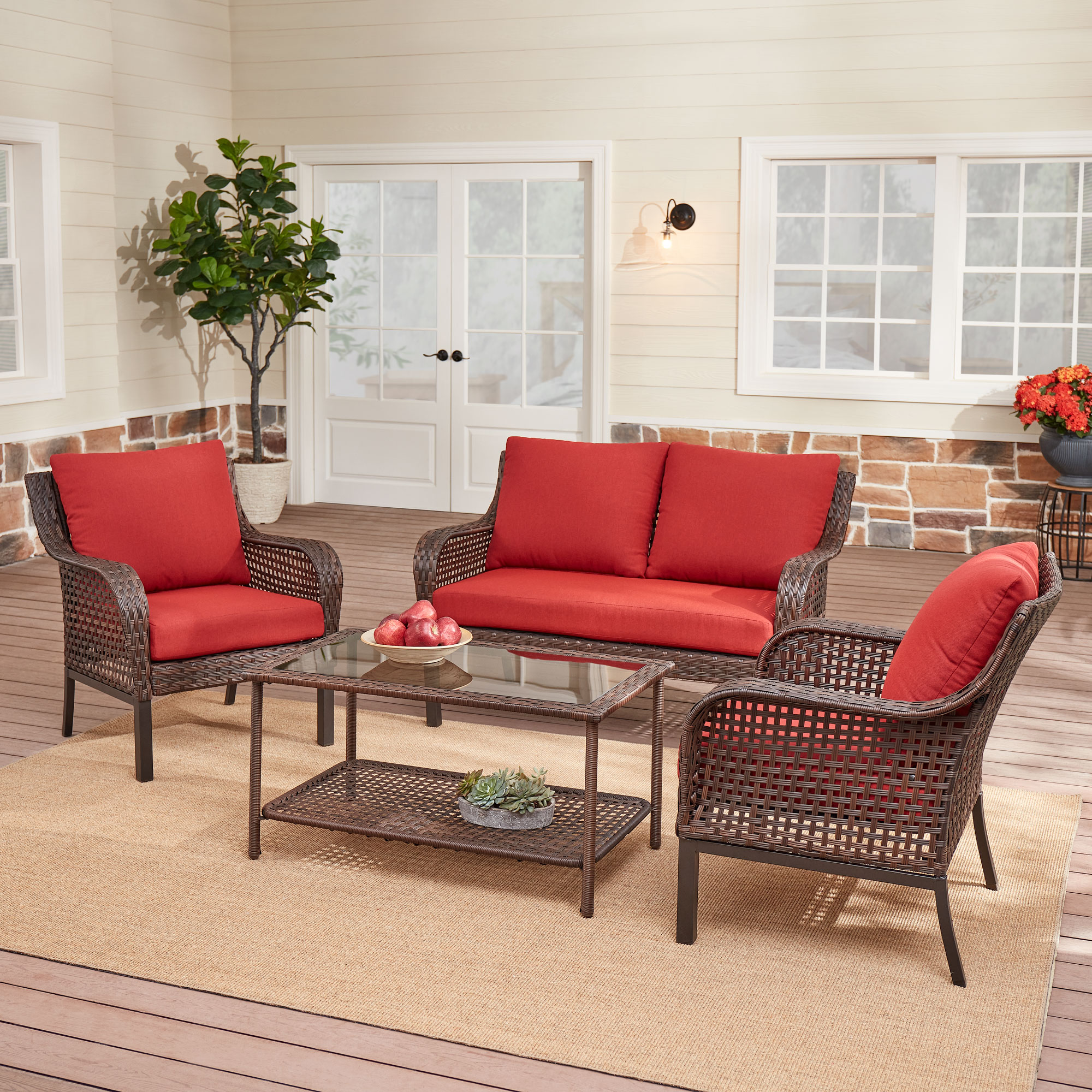 red mainstays patio furniture walmart com