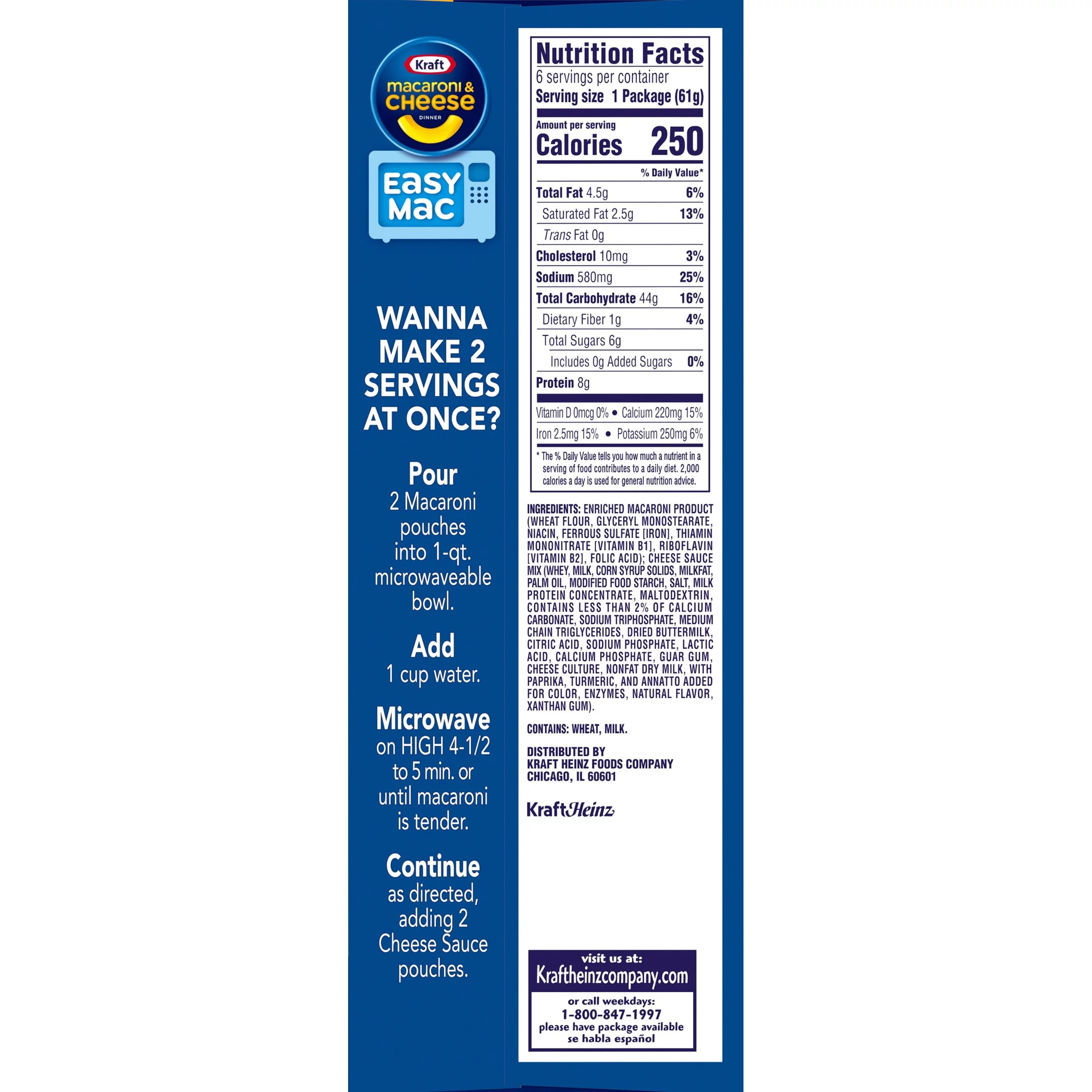 kraft easy mac original macaroni cheese microwavable dinner 6 ct packets