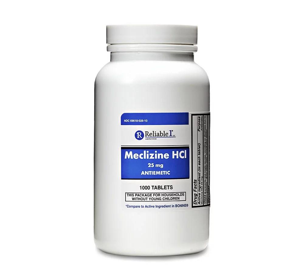 Meclizine 25 mg Generic Bonine Motion Sickness 1000 Chew ...