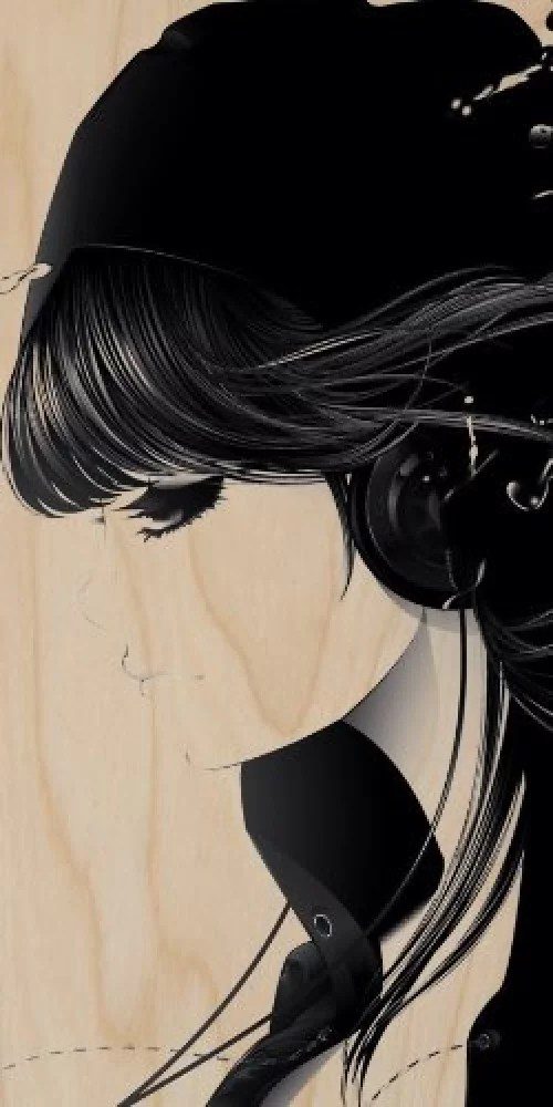 cartoon anime girl emo with headphones