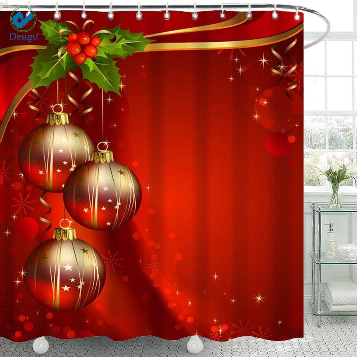 deago merry christmas shower curtain xmas ornaments waterproof funny bathroom curtains party decor with 12 hooks set 71 x71