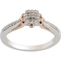 1/10 Carat T.W. Diamond Sterling Silver & 10kt Pink Gold ...