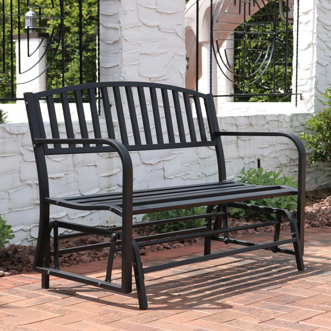 sunnydaze outdoor glider garden bench 50 inch black park bench durable metal porch glider seat 2 person patio furniture deck swing perfect