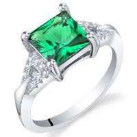 Oravo Simulated Emerald Sterling Silver Sweetheart Ring ...