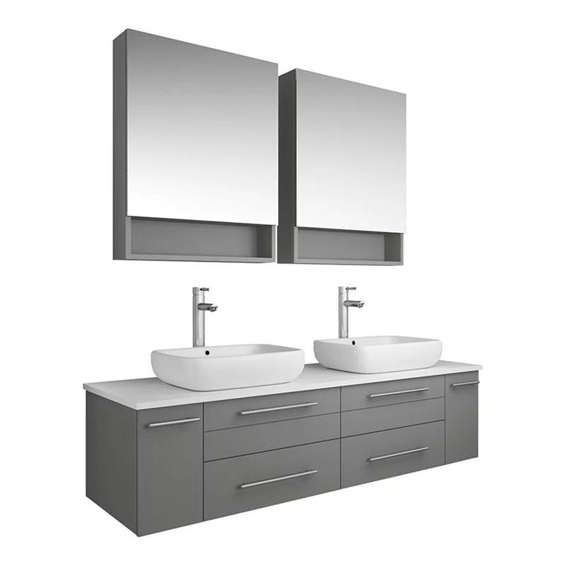 fresca lucera 60 wall hung double vessel sink wood bathroom vanity in gray