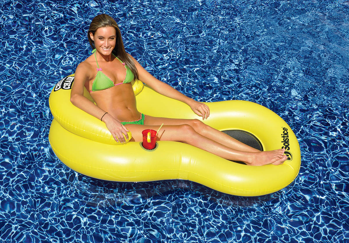 """61"""" Yellow Chill Chair Inflatable Swimming Pool Floating"""
