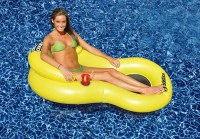 "61"" Yellow Chill Chair Inflatable Swimming Pool Floating"