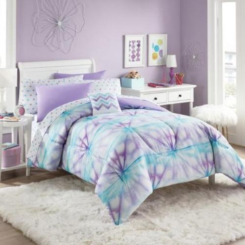 purple turquoise white tie dye girls twin comforter set 6 piece bed in a bag