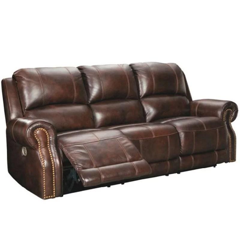 ashley furniture buncrana leather power reclining sofa with nailhead trim