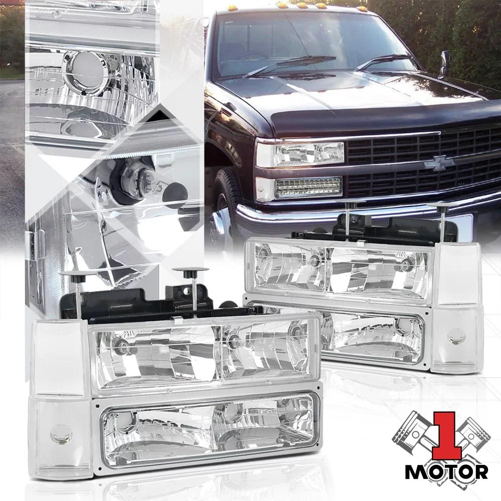 hight resolution of chrome housing headlight signal corner bumper for 88 93 chevy c10 pickup truck 89 90 91 92 walmart com