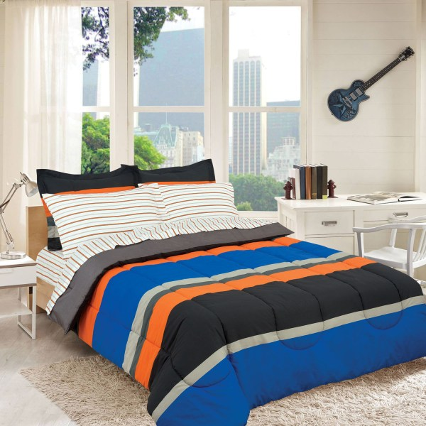 Campus Colors Rugby Stripe Reversible Bed In Bag Royale Linens