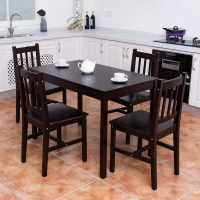 Costway 5PCS Solid Pine Wood Dining Set Table and 4 Chairs ...