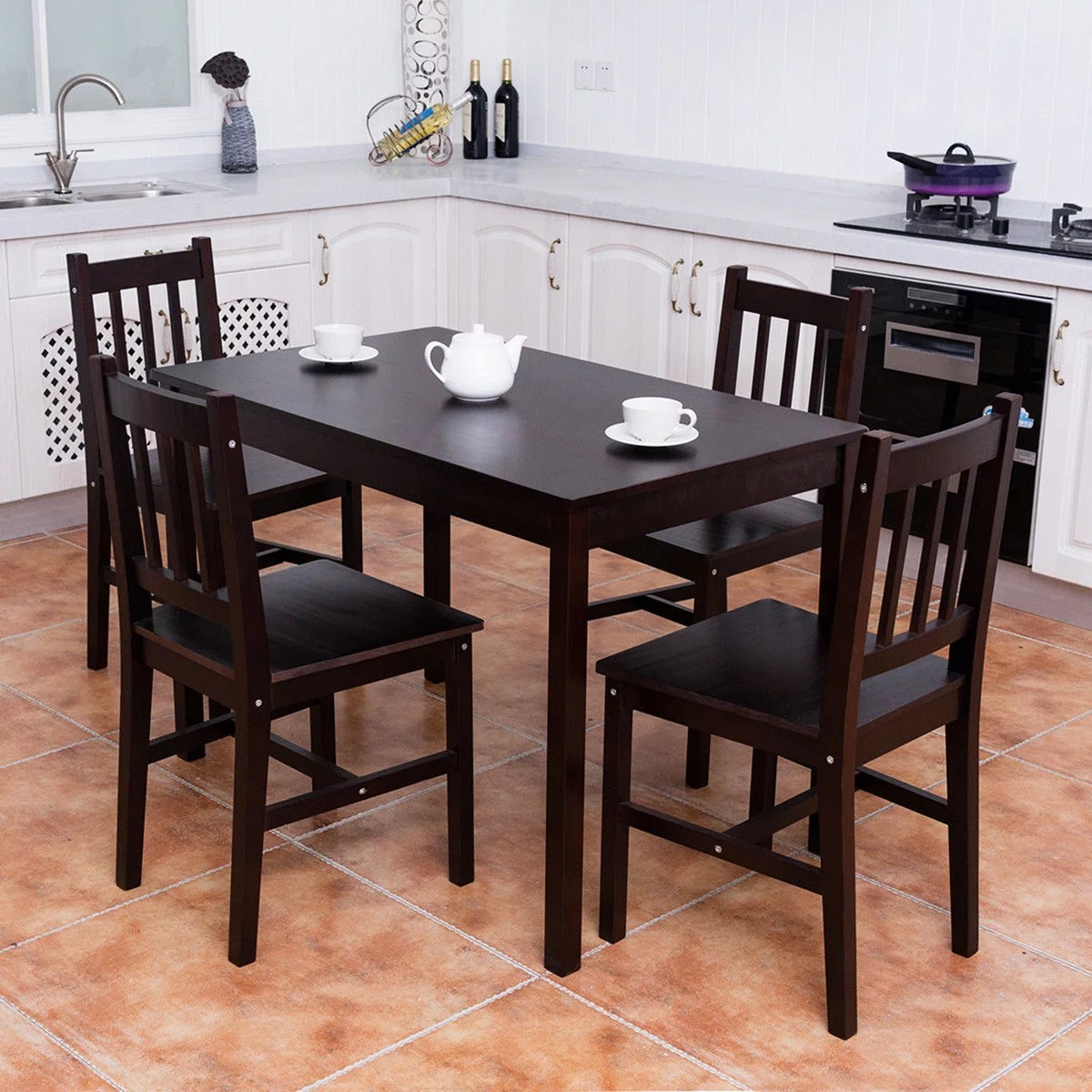 Kitchen Chairs Wood Costway 5pcs Solid Pine Wood Dining Set Table And 4 Chairs Home Kitchen Furniture Brown