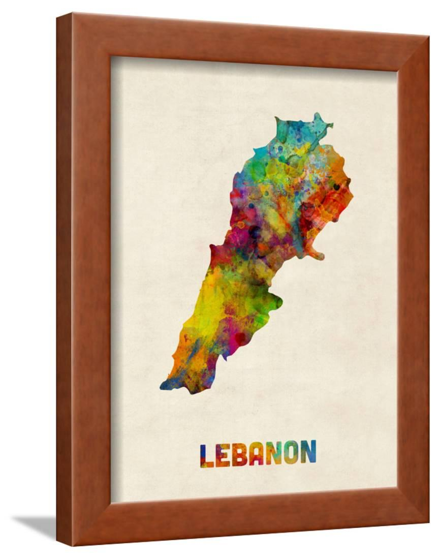 Lebanon Watercolor Map Framed Print Wall Art By Michael