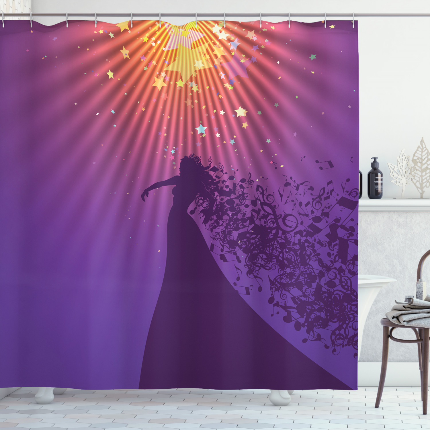 diva shower curtain silhouette of woman opera singer singing at the stage with hair like musical notes fabric bathroom set with hooks 69w x 70l