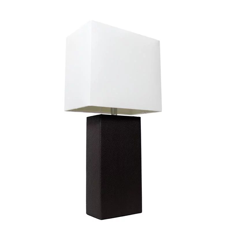 elegant designs modern leather table lamp with white fabric shade black