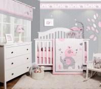 OptimaBaby Pink Grey Elephant 6 Piece Baby Girl Nursery ...