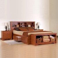 Prepac Monterey Cherry Queen Wood Platform Storage Bed 3