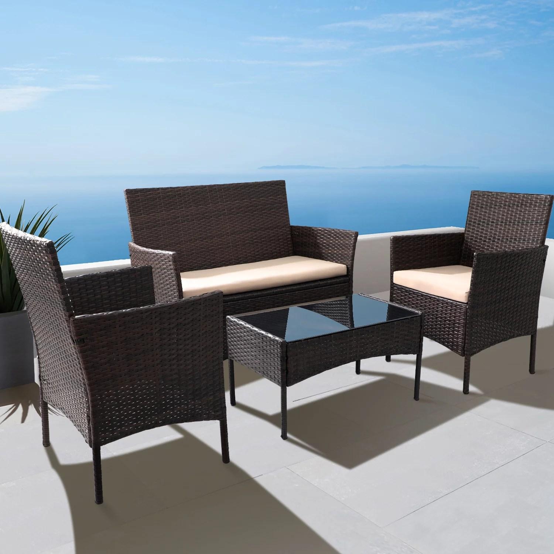 walnew 4 pieces outdoor patio furniture sets rattan chair wicker set for backyard porch garden poolside balcony