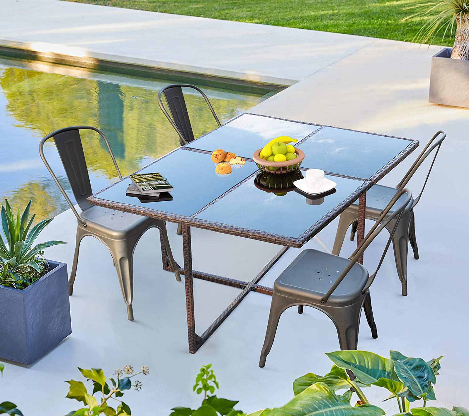 vineego 5 pieces patio dining sets outdoor dining table and metal dining chairs gun