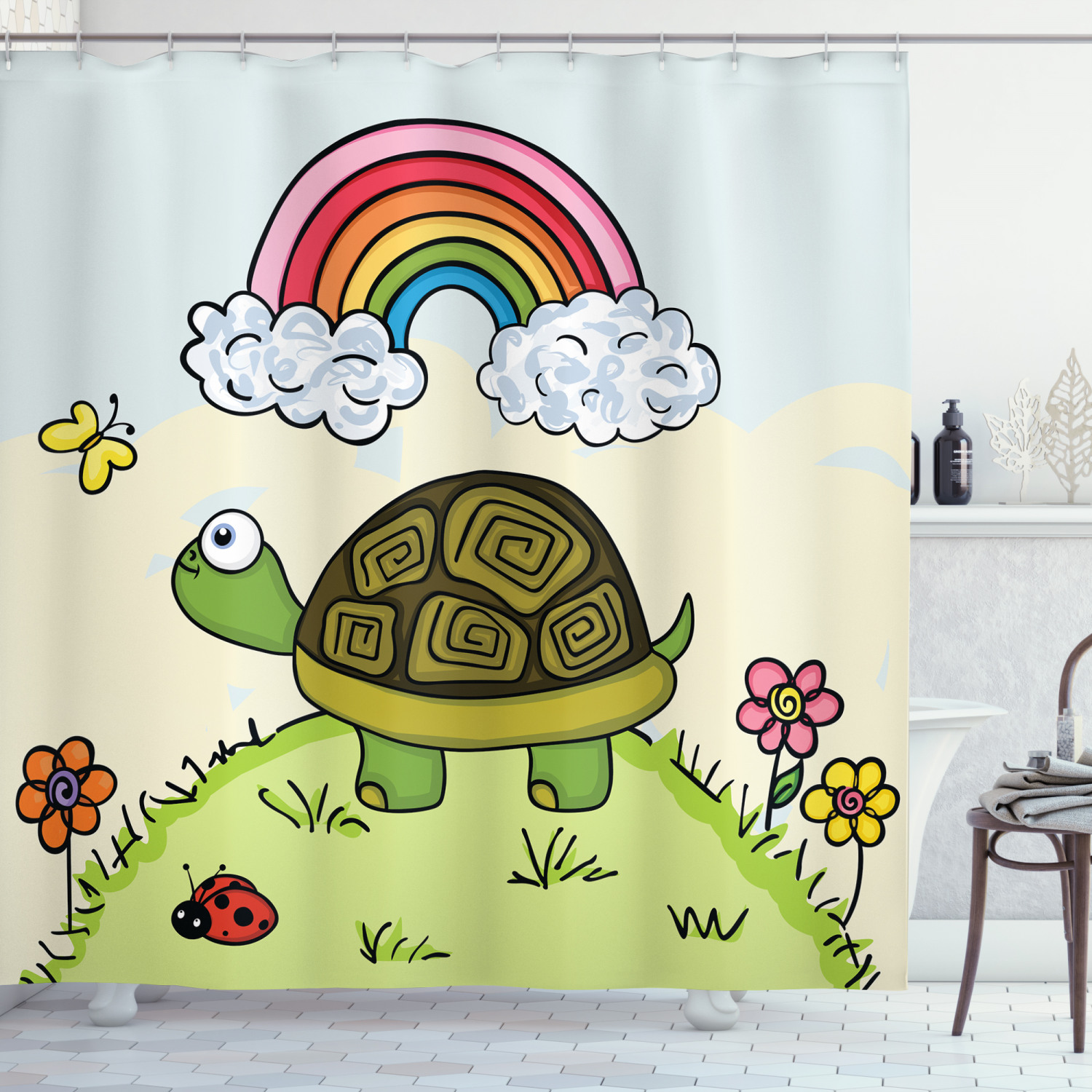 turtle shower curtain cartoon animal looking at a butterfly on hill spring season colorful nursery doodle fabric bathroom set with hooks 69w x 70l