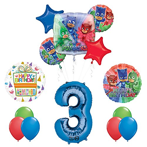 the ultimate pj masks 3rd birthday party supplies and balloon decorations