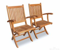 Set of 2 Natural Teak Rockport Outdoor Patio Wooden ...