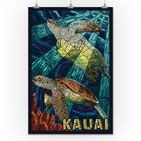 Kauai Hawaii - Sea Turtle Mosaic Lantern Press Artwork