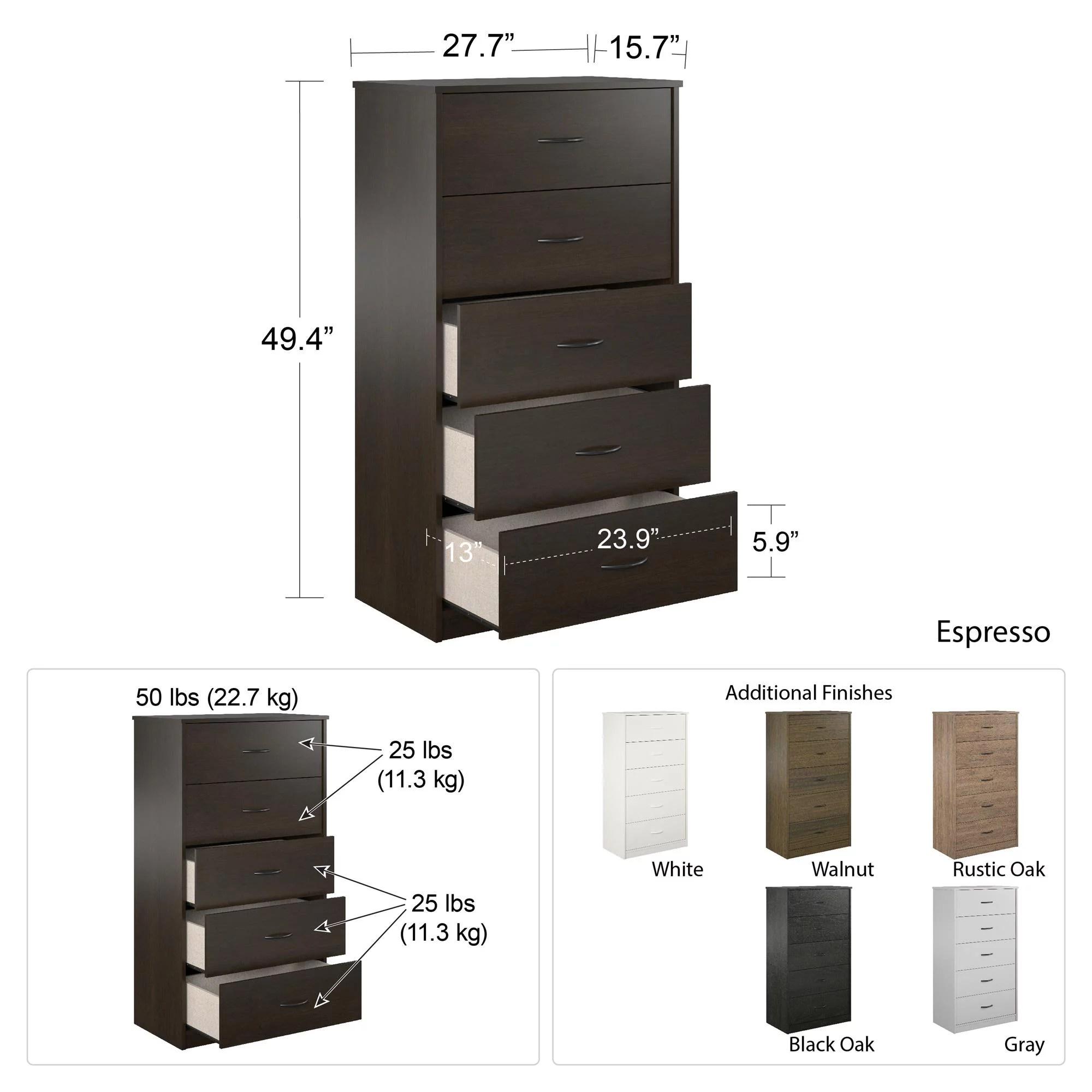 mainstays classic 5 drawer dresser espresso finish
