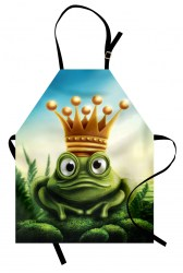 King Apron Frog Prince on Moss Stone with Crown Fairytale