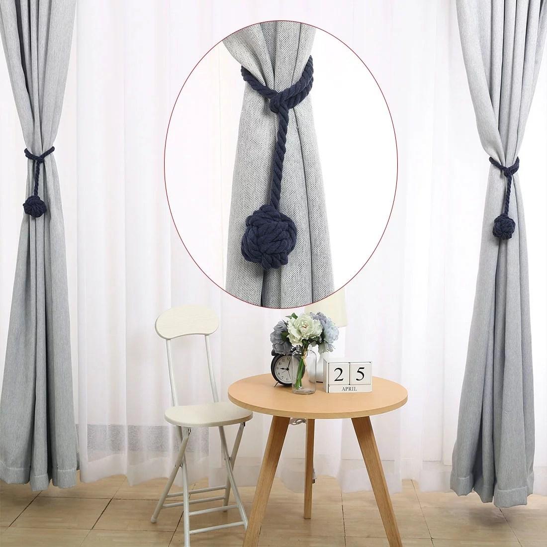 2pcs navy blue curtain tieback durable multi used easy install holdback decorative knitting rope curtain holders