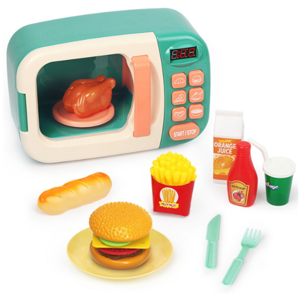 simulation microwave oven toys fun pretend toys set infant kitchen toys for children girls kids education toy gifts with light