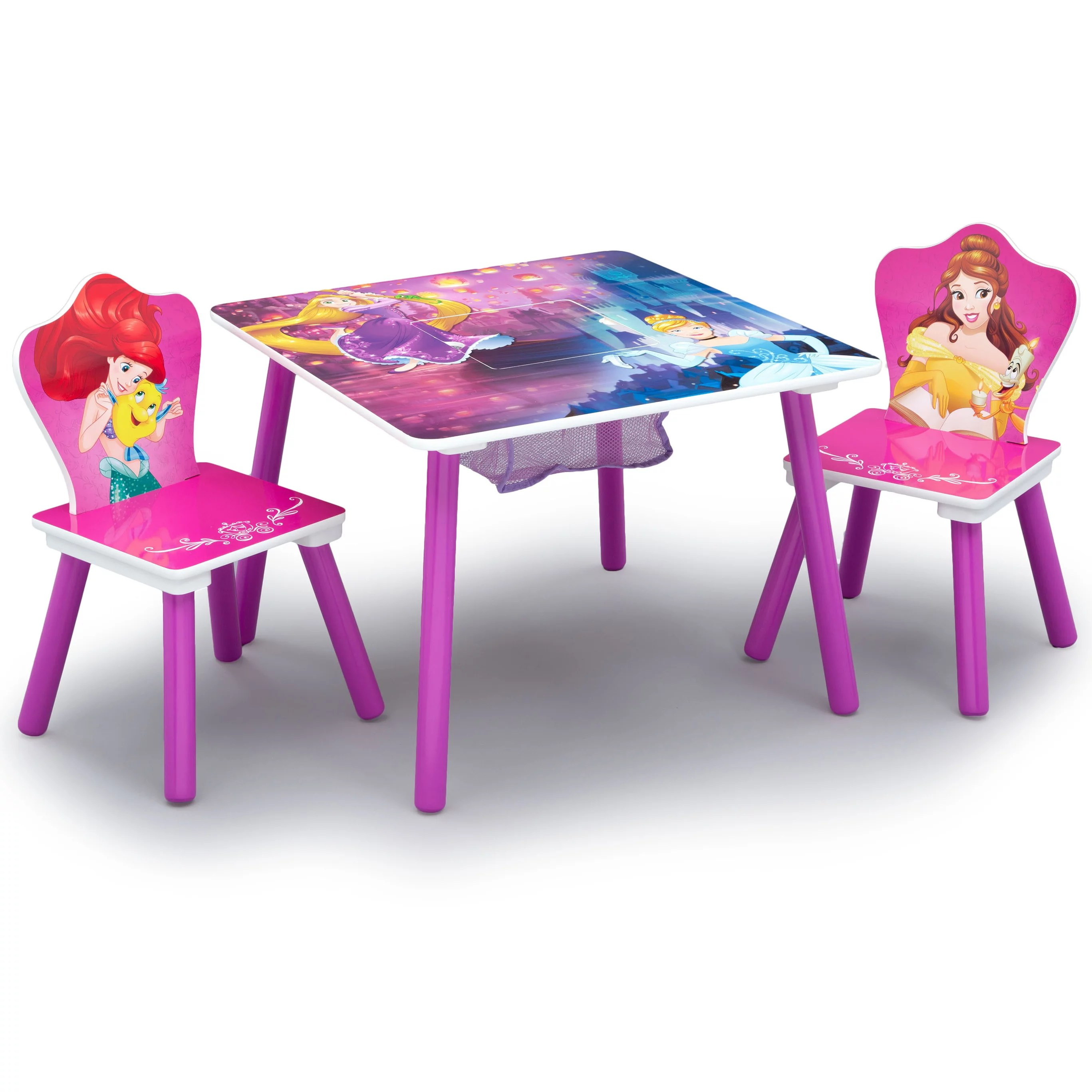 Disney Princess Wood Kids Storage Table and Chairs Set by