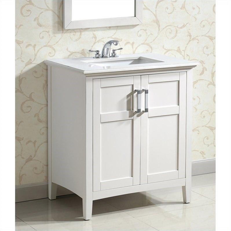Simpli Home 30 Inch Winston Bath Bathroom Vanity in White