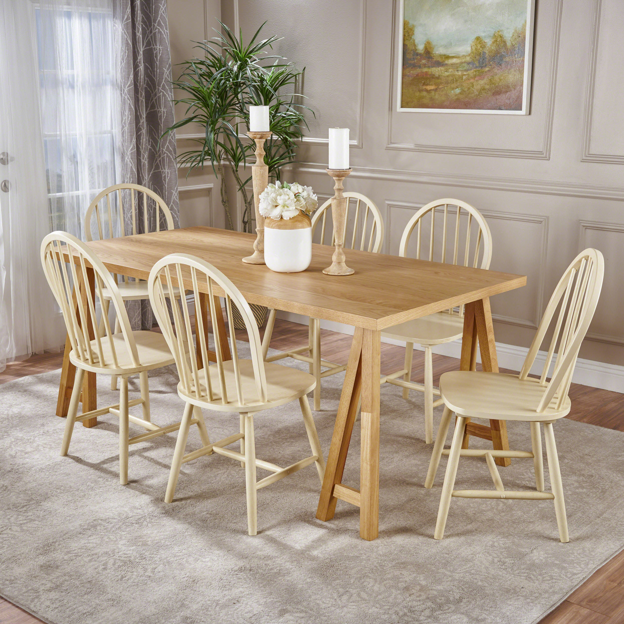 antique white dining chairs herman miller refurbished amy farmhouse cottage 7 piece faux wood set with rubberwood natural oak and