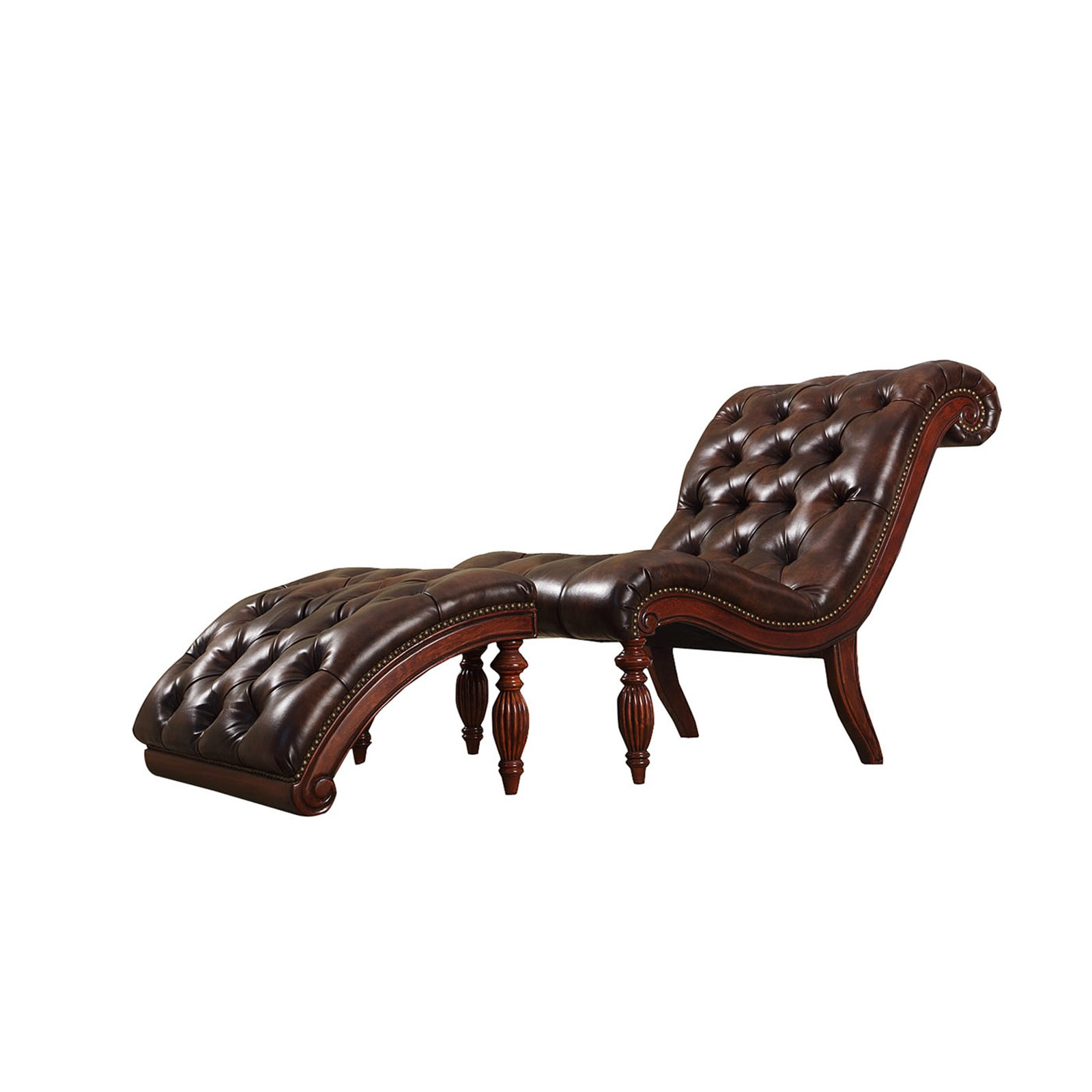 tufted chaise lounge chair bedroom french style weston home faux leather button and ottoman brown walmart com